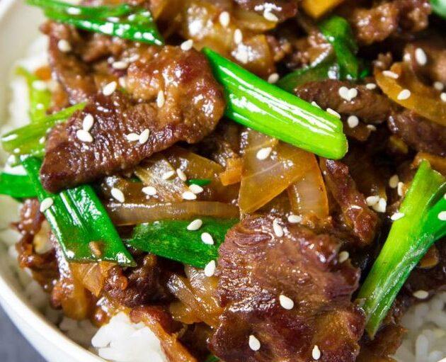 Mongolské hovězí maso
