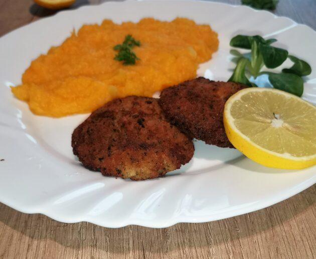 Rybí karbanátky s bramborovo-dýňovou kaší