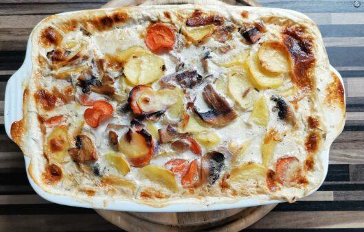 Zapečené brambory s houbami a ricottou