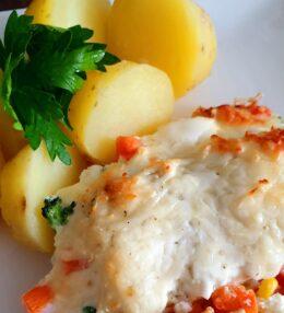 Zapečené rybí filé se zeleninou (zdravé)
