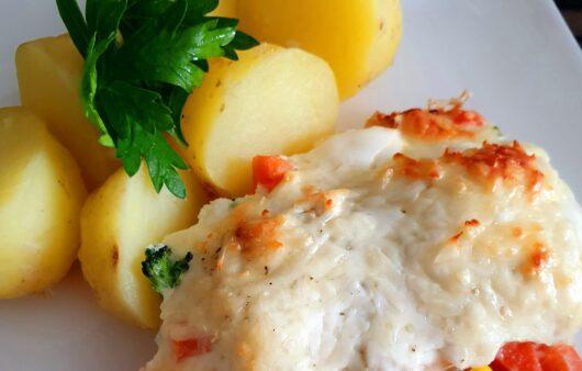 Zapečené rybí filé se zeleninou